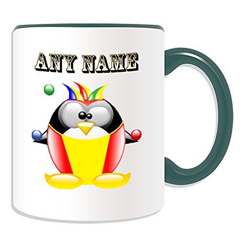 Personalisiertes Geschenk-Clown Becher (Design Pinguin in Kostüm Thema, Farbe Optionen)-alle Nachricht/Name auf Ihre einzigartige-Joker Bälle, keramik, grün