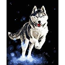 ADVLOOK Juegos De Pintura Perro De Trineo Animal Pintado A Mano Dibujo Lienzo para Colorear Regalo