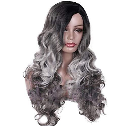 AMUSTER Damen Frauen Perücke lange lockige Haar Wig Schwarz für Cosplay Karneval oder Party, Fasching Kostüm Glamourös Haarteil (Rose Haarnetz)