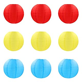 ACVIP Pack of 9 Chinese Round Nylon Cloth Lantern Christmas Wedding Party Decor Red Yellow Blue (25cm)