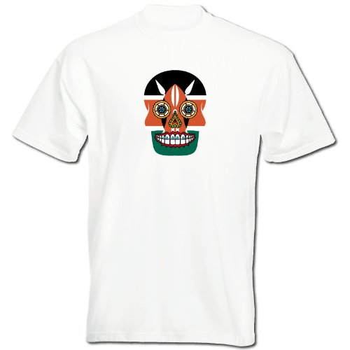 T-Shirt - Kenia - Sugar Skull - Fahne - Herren - unisex Weiß