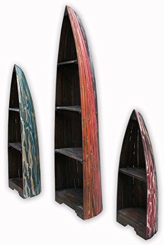 LioLiving®, 3-Teiliges Regalset/Bootsregal *Boat* (Mahagoni/Shabby chic) (#400133) -