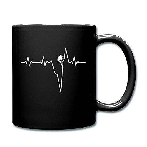 Klettern Herzschlag Kletterer EKG Tasse einfarbig von Spreadshirt®, Schwarz