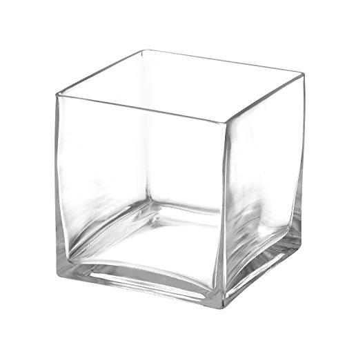 Royal Imports Fiore in vetro vaso decorativo centrotavola per la casa o matrimonio by 12,7x 12,7cm cubo da 12,7cm di altezza