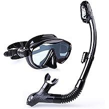 INTEY Schnorchelset Schnorchelmaske mit Anti-Fog Taucherbrille und Dry Schnorchel inkl. Ausblasventil und Anti-Fog Tachermaske aus Gehärtetem Glas für Erwachsene und Kinder, Schwarz