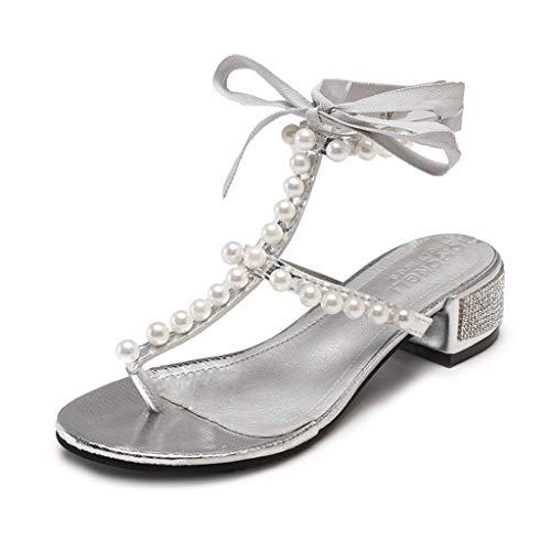 Italily ragazze infradito sandali donna con tacco basso eleganti sandali donna sandalo sandali punta aperta estate boemia strass perline flip-flop scarpe flat sandali