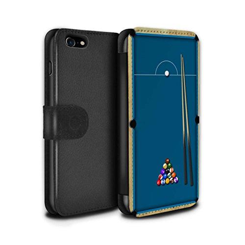 Stuff4 Coque/Etui/Housse Cuir PU Case/Cover pour Apple iPhone 7 / Baby-Foot Design / Jeux Collection Billard Bleu