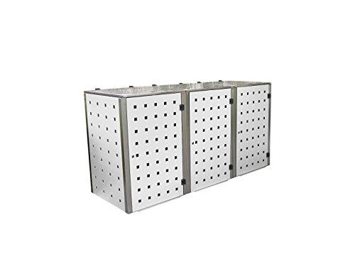 *Gero metall Mülleimerhaus, Abfalltonnenhaus, Mülltonnenverkleidungen Eleganza für Drei 120 Liter Mülltonnen in Weiß*