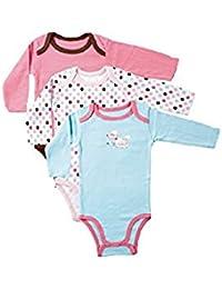 4fe30f1b2b Luvable Friends 38040P Set Bodies für Babies (Set rechts im Bild), Mädchen,  passend für 0-3 Monate, 3 verschiedene…