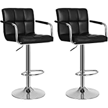 Songmics Lot de 2 Tabourets de bar haut Chaise de bar simili cuir PU chrome hauteur réglable grande base Φ 41 cm LJB93B