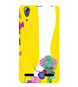 ANIMATED FLORAL FOOTWEAR FOR GIRLS IN A YELLOW BACKGROUND 3D Hard Polycarbonate Designer Back Case Cover for Lenovo A6000 Plus