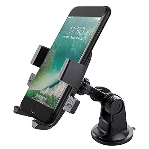 One Touch Housse de support de voiture, prise en main, support universel pour téléphone portable/support de fixation réglable avec coussinet pour tous les iPhone, Samsung, Sony, LG, Huawei et autres téléphones portables