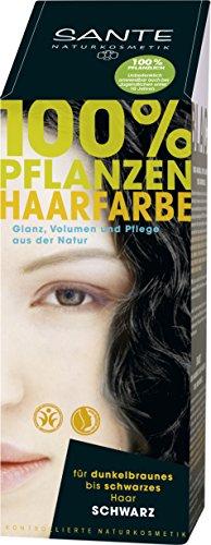Sante Naturkosmetik Pflanzen-Haarfarbe Pulver schwarz 100g, 1er Pack (1 x 100 g)