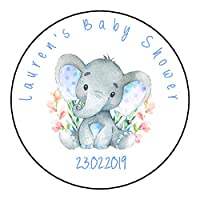 Personalised Baby Shower Round Gloss Stickers For Party Favour Sweet Bags Watercolour Elephant