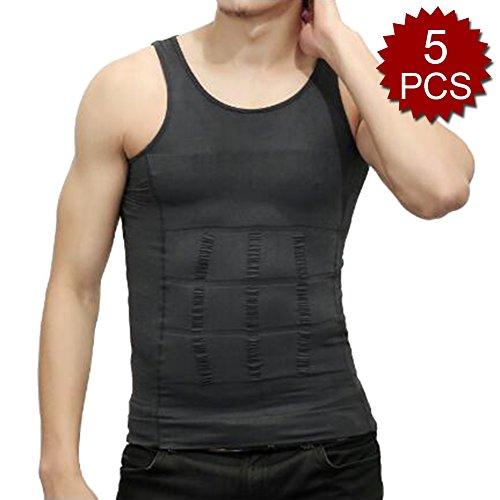 TopTie Herren 5Stück Abnehmen Body Shaper Bauch Taille Weste Shirt Bauch Slim, Muscle Tank XL grau (Nylon Slim Shaper)