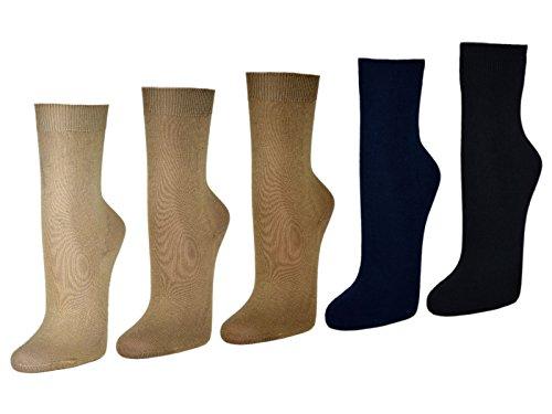 10 Paar Damensocken 100% Baumwolle ohne Naht Business Damen Socken Schwarz Weiß Beige Braun - Sockenkauf24 (39-42, Beige/Braun/Blau)