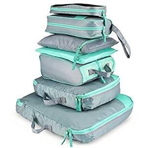 7 Set Packing Cubes Travel Organizer-2 Bekleidungsbeutel + 2 Premium BH Unterwäsche Tasche + 1 Digital Zubehör Tasche + 1 Kulturbeutel + 1 Schuhe Tasche