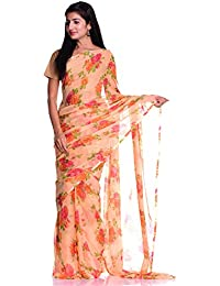 Kastiel Orange Floral Printed Saree With Blouse Piece For Women