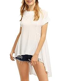 50c9131d94 HaiDean Damen Oberteile Oberteile Shirts Blusen Elegant Sommer Chiffon  Kurzarm Jungen Hipster Rundhals Asymmetrisch Weiß Lang