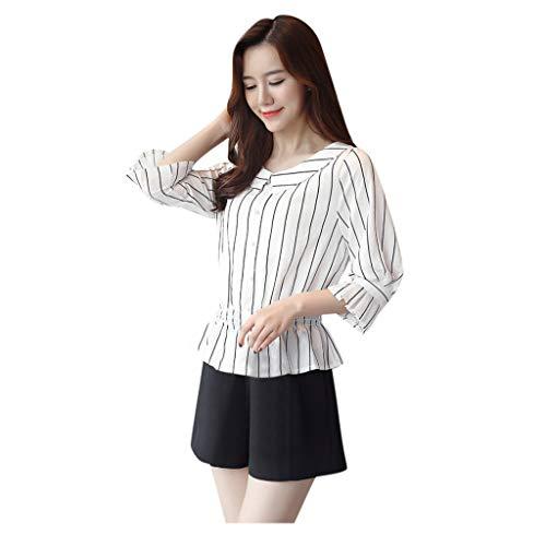 Xmiral Bluse Damen Punkt Streifen Drucken Arbeit Geschäft Büro Shirt Elegant Hemd Langarm Rundhals V-Ausschnitt Chiffon Blusen (d Weiß,XL)