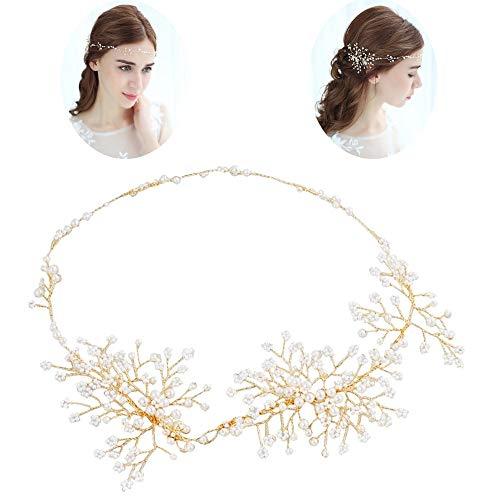 roroz Gold Braut Kopfschmuck Perlen Haarband, Brautschmuck Tiara, Rasen Hochzeit Brautkleid Styling Zubehör für Jede Frisur geeignet,Gold