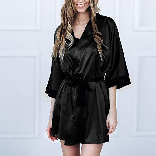 WOOAI Frauen-Spitze Bademantel Unterwäsche Nachtwäsche Sexy Black Silk Satin Kimono Robe Pyjamas Frauen Sexy Nachtwäsche Plus Größe Weibliche Bademäntel, Schwarz, S, China (Bademantel Größe Plus Sexy)
