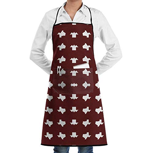 Drempad Schürzen/Kochschürze, Texas A&M School Color Print Wallpaper Apron Kitchen Cooking Commercial Restaurant Apron for Women and Men-Perfect for Gifts