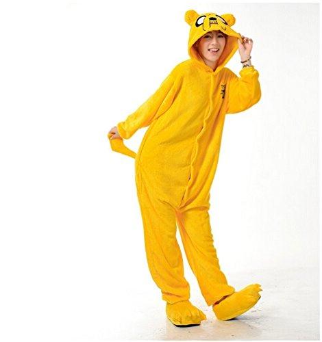 Imagen de adulto unisexo adventure king jake el perro finn el humano onesie fiesta disfraz de kigurumi con capucha pijama sudadera ropa para dormir regalo de navidad jake el perro, l height 170cm 180cm