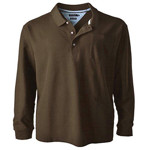 Redfield Piqué Langarm Poloshirt Braun Übergröße, XL Größe:5XL (Braun-piqué-polo-shirt)