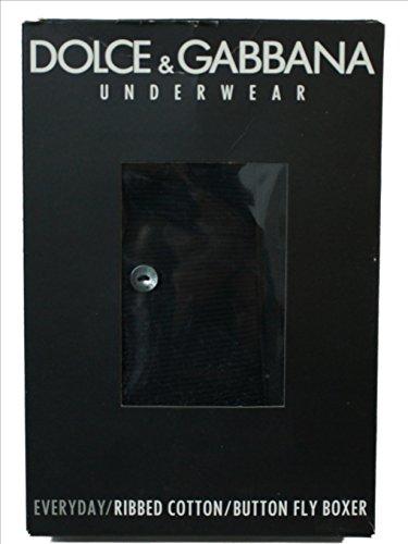 Dolce & Gabbana Everyday para Hombre con Logotipo Regular Boxer con Volar Ribbed-Cotton (Negro)