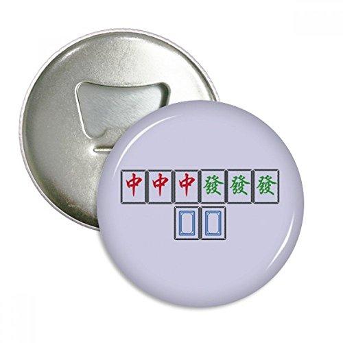 ei Chiefs Mahjong Fliesen Runde Flaschenöffner Kühlschrankmagnet-Abzeichen-Knopf-3pcs Geschenk Silber ()
