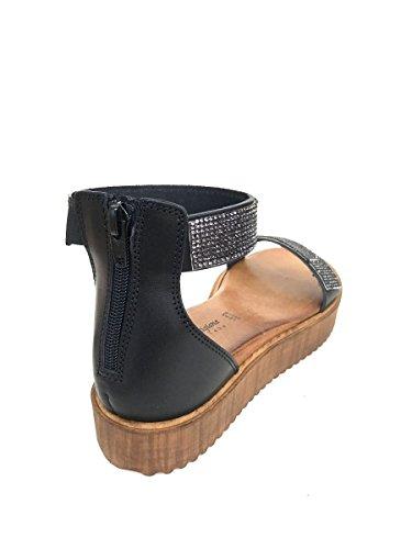 Sandali tacco basso BT313992 in pelle strass nero bianco MainApps Nero