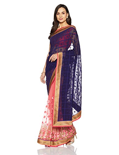 Womanista Women's Faux Crepe & Net Sari With Blouse Piece(FS9385_Navy Blue and...