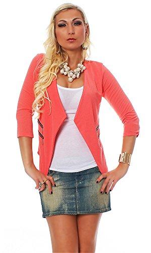 10475 Fashion4Young Damen Kurzjacke Blazer Jäckchen Jacke kurze Bolero-Design verfügbar in 6 Farben (34/36, Coral) (Design Blazer)
