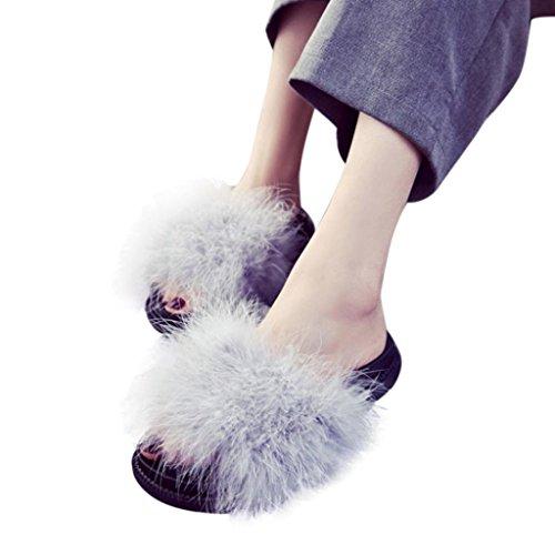 Damen Flip-Flops, Sonnena Frauen Slip On Sliders Fluffy Kunstpelz Flache Pantoffel Flip Flop Sandale Sandale Outdoor Beach Shoes Zehentrenner Slipper (Sexy Grau, 39) Frauen Slider Sandalen