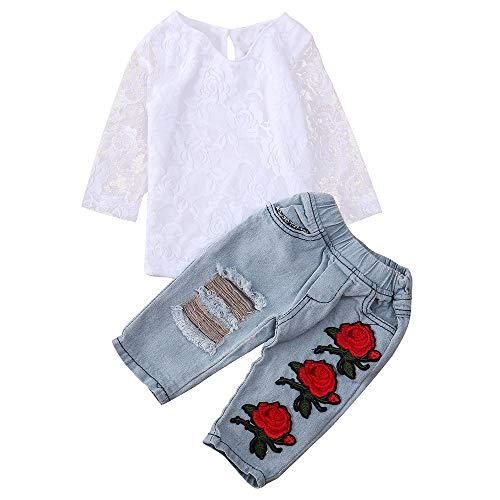 Lazzboy Neugeborenes Baby Jungen Mädchen Lace Flower Tops Shirt + Hose Outfits Sets Blumen Crop +Jeanshosen Jean Kleinkind Kinder Kleidung Sets Junge Hülse Gestreift(Höhe120) - Wikinger Kleinkind-shirt