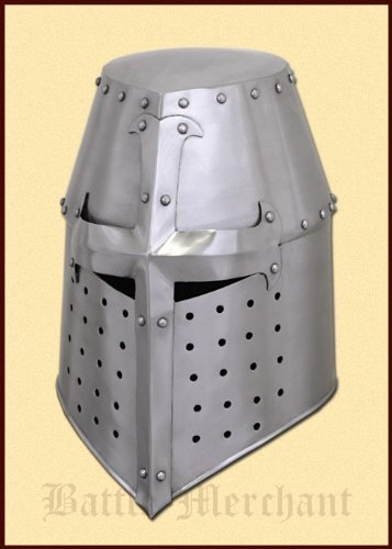Battle-Merchant Topfhelm, 13. Jahrhundert - Ritterhelm - Mittelalter - LARP - Helm