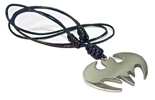 Cadena de acero inoxidable de cuero Surfer Geralin Gioielli Batman Símbolo