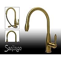 Sanlingo - Miscelatore monocomando girevole per lavello con doccetta estendibile, colore: Bronzo