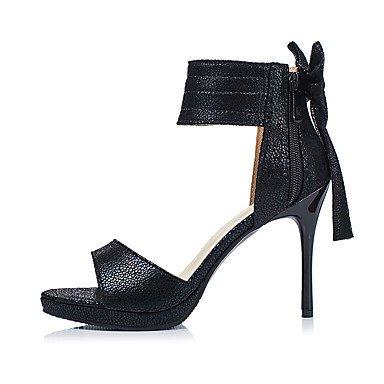 LvYuan Da donna Sandali Comoda Cinturino alla caviglia Finta pelle Estate Formale Comoda Cinturino alla caviglia Fiocco Nero Argento 10 - 12 cm Black