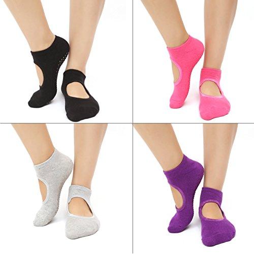 Budalga Yoga Pilates Socken für Damen, 4 Paaren Rutschfeste Halbzehe Yoga Socken Sportsocken Ballett Socke für Fitness/Pilates/Tanz Socken Frauengröße 35~40 (EU). Schwarz, Grau, Lila, Rosa