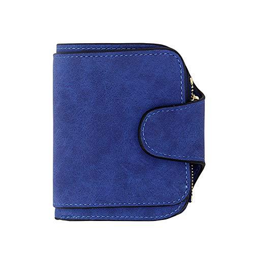 Vnlig Portafoglio Donna Multifunzione retrò in Pelle Opaca Portafoglio Corto Portafoglio Multi-Carta Fibbia Portafoglio (Color : Blue)