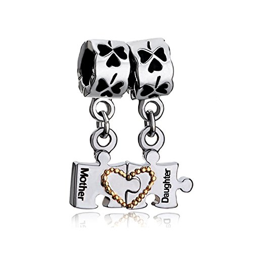 uniqueen Mother 's Day Gifts Mutter Tochter Autismus Puzzle Herz Four Leaf Clover Charms baumeln Perlen für Pandora Armband