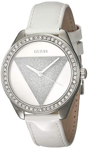 Guess Damen Analog Quarz Uhr mit Leder Armband W0884L2 (Frauen, Für Guess Silberne Uhren)