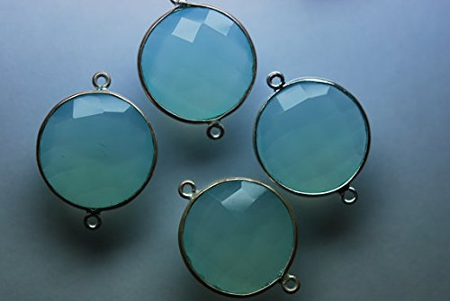 925 Sterling Silver, Aqua Chalcedony Faceted Coin 20mm Stones, With Loop 26 Jewelers Loop