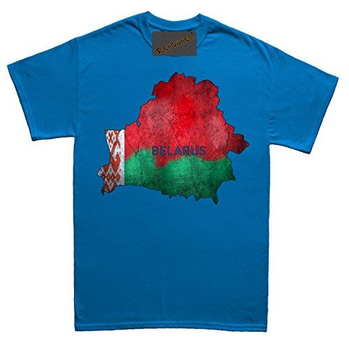 Renowned Belarus Flag Map Grunge Unisex - Kinder T Shirt Blau