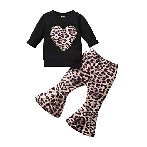 T TALENTBABY Kleinkind Baby Kinder Mädchen 2 STÜCKE Kleidung Outfits Herz T-Shirt Tops + Leopard Ausgestellt Hosen Overall Outfit Set, Black Leopard, 36-48 Monate