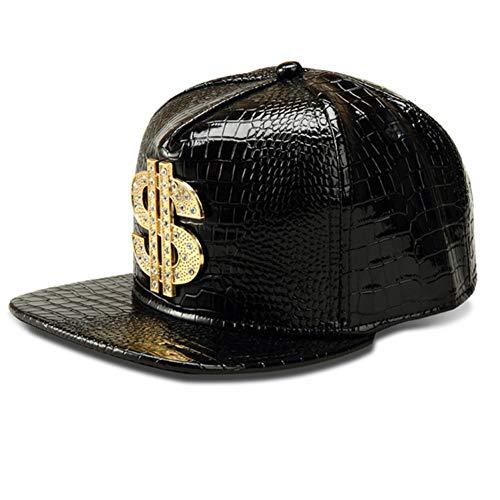 WYKDA Vogue Dollar Logo Cocodrilo Hip Hop Rap PU Sombreros de Cuero Gold Rhinestone Street DJ Money Gorras de béisbol Hombres Mujeres Casquette
