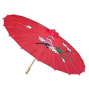 DealMux Blumen-Muster-Damen Regen Sonnenschirm Klassische Red