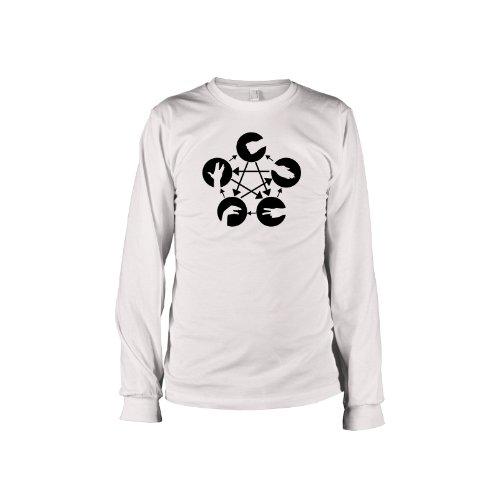 TEXLAB - TBBT: Stein Schere Papier Echse Spock - Langarm T-Shirt Weiß